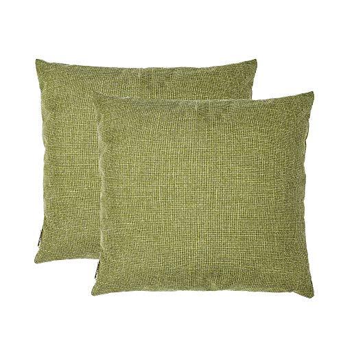 SOFTNOW 2 fundas de almohada de lino suave decorativas, con cierre oculta, cojín cuadrado sólido para sofá, recámara, coche, 50 x 50 cm, color verde azulado