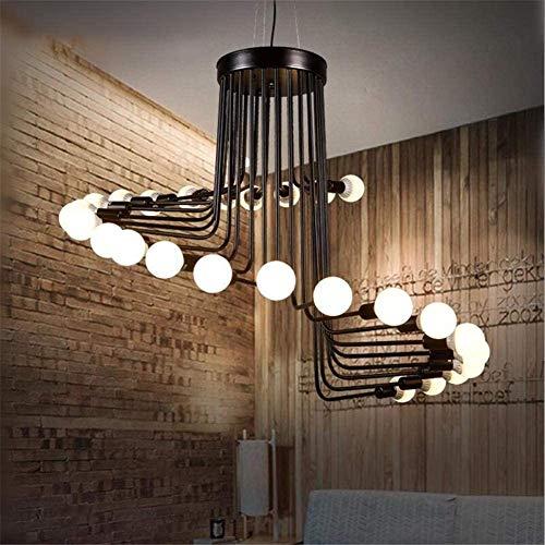 Lámparas De Araña Retro Simple Colgante Araña Loft 26 Cabezas Espiral Escalera Negro Hierro Forjado Grande Iluminación del Techo E27 Diámetro del Accesorio 41.3 Pulgadas