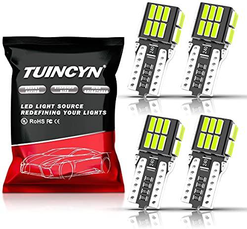 TUINCYN 194 168 T10 W5W Bombilla de luz LED azul hielo CANBUS Sin errores 912 921 2825 Luz de domo interior del coche Mapa Puerta Luces de matrícula de cortesía DC 12V (Paquete de 4)