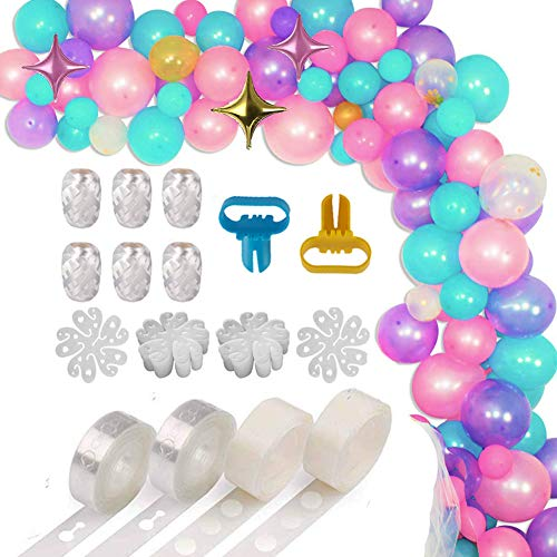 XP-Art Balloon Decorating Strip Kit for Arch Garland 32.8Ft Balloon Tape Strip,2 Pcs Tying Tool, 200 Dot Glue, 20 Flower Clip,6 Roll White Ribbon for Wedding Birthday Baby Shower Christmas Party