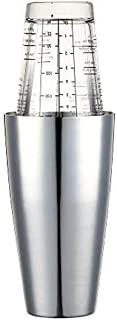 BarCraft Boston Cocktail Shaker Set with Printed Recipes, Stainless Steel, 400 ml