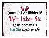 KMC Austria Design Cartel de chapa vintage Shabby Style como cuadro de pared, 35 x 26 cm, con texto impreso – tema amor & Higheels – Jungs sind wie Higheels