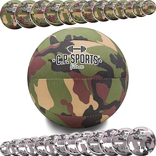 C.P. Sports - Palla medica Camo Tarn Military Camouflage – Oliva o Bianco – 0,5 kg fino a 15 kg – Sport Fitness allenamento di forza Crossfit Reha – 5 kg verde oliva
