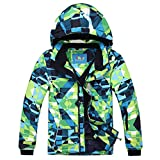 PHIBEE Big Boy's Waterproof Breathable Snowboard Ski Jacket (Print, 8)