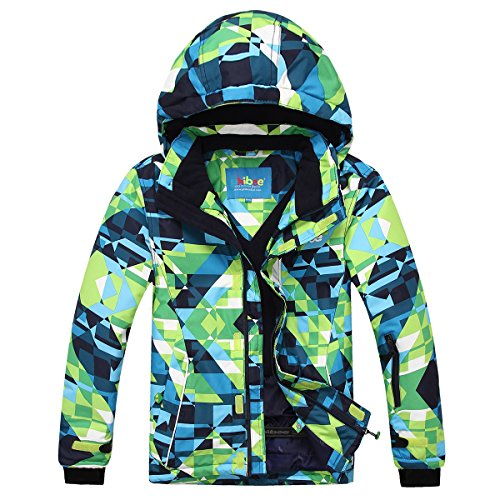 PHIBEE Big Boy's Waterproof Breathable Snowboard Ski Jacket (Print, 12)