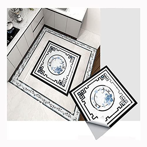 QTT Pegatinas De Azulejo Cuadrado, Mosaico Autoadhesivas Impermeables Pared Papel, Etiqueta Engomada del Piso La DecoracióN Pasillo PVC Dormitorio CalcomaníA,A,100CM 01