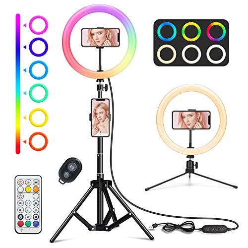 """WWDOLL 10"""" Luce ad Anello LED Tik Tok, 26 Colori RGB Ring Light con Supporto Treppiede per Cellulare, Luce per Selfie con 3 Modalità di Illuminazione e 9 Luminosità per Trucco YouTube Live Fotografia"""