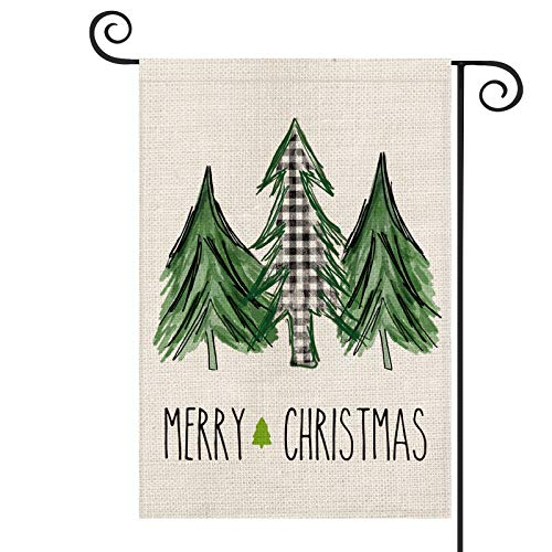 AVOIN Merry Christmas Buffalo Check Plaid Watercolor Christmas Tree Garden Flag Vertical Double Sized, Winter Holiday Party Yard Outdoor Decoration 12.5 x 18 Inch