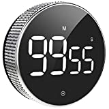 Digital Kitchen Timer, Large Magnetic LED Countdown Timer with Constant Light Function for classrooms, 3-Level Volume, Quiet Egg Timer for Children and The Elderly