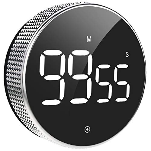 Küchentimer, Digitaler Küchentimer, Magnetischer Countup & Countdown LED Digital Timer, 3 Level Volumen, 2 rutschfeste Pads, großer LED-Bildschirm Eieruhr