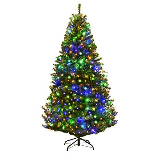 COSTWAY 120/150/180cm LED Künstlicher Weihnachtsbaum mit 11 Lichtmodi und 5 Farbwechsel, Tannenbaum mit Metallständer, Christbaum PVC Nadeln, Kunstbaum Weihnachten Klappsystem, grün (180CM)