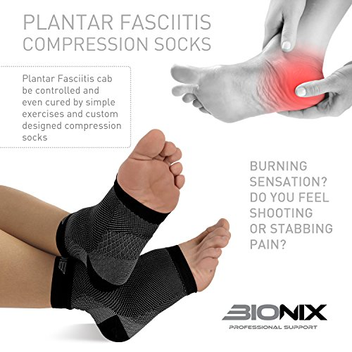 Bionix - Professional Support Plantar Fasciitis Foot Socks Best Compression Sleeve, L/XL , Black