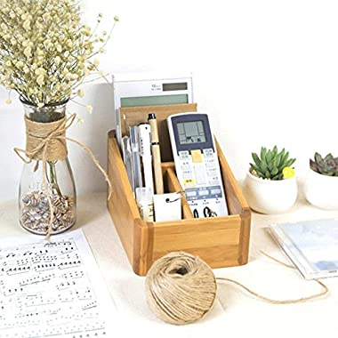 Bamboo Desktop Storage Organizer/Home Sundries Storage Box/Remote Control Caddy Holder/Pen Holder/Business Card/ Brochure Holder for Desk, Office Supplies, Home, End Table (with 4 Compartments)
