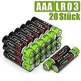 GutAlkaLi Batterien Mignon Alkali, AAA,LR03, 20 Stück für Kameras, Spielecontroller, Spielzeug und...