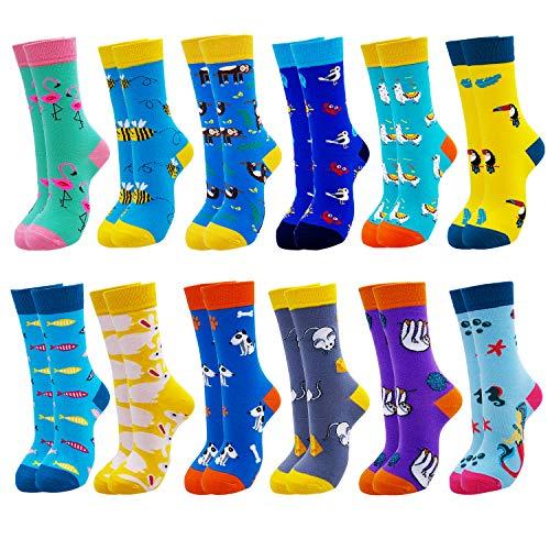 Jielucix Bunte Socken Damen Lustige Baumwolle Farbige Anzugsocken für Frauen 39-42 (12 Paare Bunte 126F)