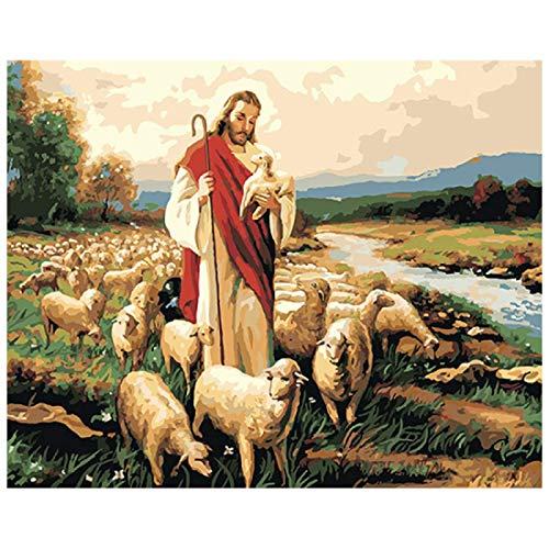 Diy Oil Painting, Paint By Number Kits -Jesus And Sheep,16X20 Inch
