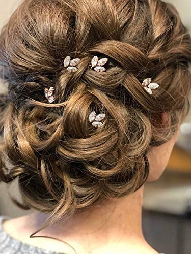 Aegenacess Set of 5 Wedding Hair Pins Rhinestones Bridal Clip Accessories for Bride and Bridesmaids (Rose Gold Clear)