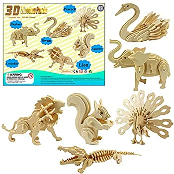 LRIGYEH 3D Wooden Animals Puzzles for Kids Wood Building Kits Including Elephant Peacock Swan Squirrel Crocodile and Lion | STEM Toy Gift for Kids and Adults  Animal
