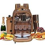 Kacsoo 4 Personen Picknick Rucksack Kit mit Isoliertem Kühlraum Tragbarer Picknick-Rucksackkühler Lunchrucksack mit Fleece-Decke für Familien Outdoor Camping