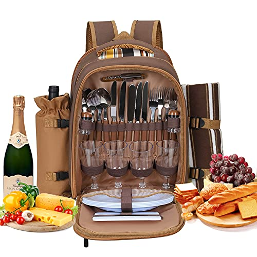 Kacsoo Set zaino da picnic per 4 persone, con vano refrigerante, portatile, borsa da picnic, borsa per il pranzo con coperta in pile, per famiglie all'aperto, campeggio