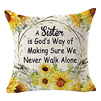 SOPARLLY Best Gift To Sister A Sister is God's Way of Making Sure We Never Walk Alone Cotton Linen Square Decorative Home Office Throw Pillow Case Couch Cushion Cover 18X18 inches
