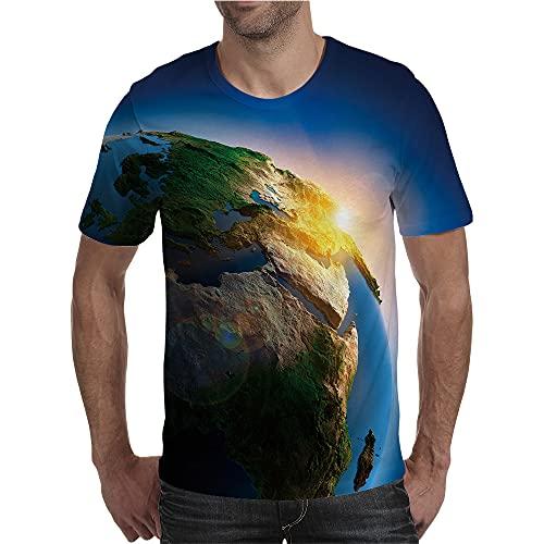 BINGXY Camisetas para Hombre,Popular Digital 3D Estilo Europeo y Americano impresión de la Tierra Transpirable Suelta de Manga Corta Camiseta Casual AliExpress Comercio Exterior