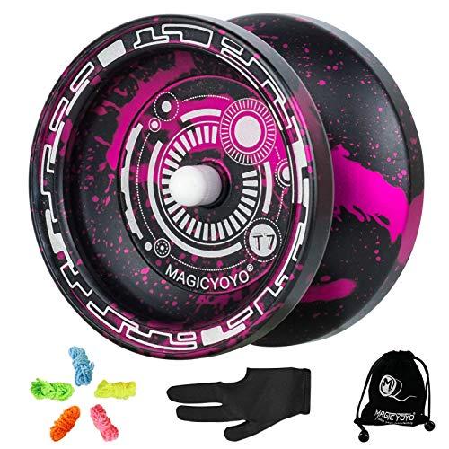 MAGICYOYO T7 Reagierendes JoJo für Kinder, Anfänger Yo-yos aus Metall mit schmalem C-Kugellager, einfach zurückzukehren und zu üben von Saitentricks, Jo-jo Saiten, Yo-Yo Handschuh (schwarz rosa)