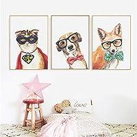 かっこいい犬猫キツネ動物ポスター印刷キャンバス絵画北欧の壁アート写真保育園キッズルーム家の装飾写真40x60cmx3フレームなし