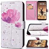 Saceebe Compatible avec Xiaomi Redmi S2 Housse de téléphone Housse Etui Portefeuille Cuir Coque Brillante Bling Glitter 3D Motif Folio Stand Pochette Wallet Coque,Fleur Rose