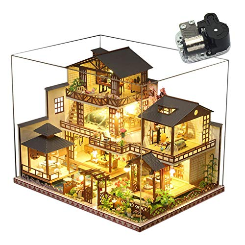 WYD Japanese Style Large Luxury Courtyard Model 3-Story Villa Wooden Dollhouse Kit DIY Creative Dollhouse Craft with Dust Cover, Music Movement, LED