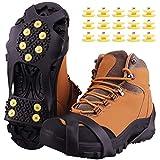 Fesoar Crampons Antidérapant sur Chaussures/Bottes 10 Clous à Neige Grips Crampons Crampons Pointes avec 15 Pics de Neige de Rechange- Protection antiglisse- Unisexe