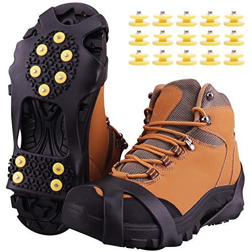 Fesoar Schuhspikes,Schuhkrallen Steigeisen für Schuhe im Winter mit einem 15er-Pack Ersatz-Schneespikes für Damen,Herren und Kinder(Schwarz, XL)