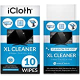 iCloth Extra Large Monitor and TV Screen Cleaner Pro-Grade Individually Wrapped Wet Wipes, 1 Wipe Cleans Several Flat Screen TV's and Monitors, 10 Wipes