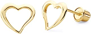 14k Yellow Gold Floating Heart Stud Earrings with Screw Back