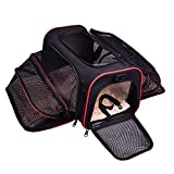 LOGROTATE Pet Carrier, Pet Travel Bag, Airline Approved Portable Airplane Pet Dog Carrier Soft Double Sided Expandable Travel Carriers Bag for Dogs Cats Kittens Puppies & Small and Medium Animals