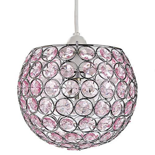 Pantalla colgante moderna redonda con forma fácil de globo con pequeñas joyas de cuentas de acrílico rosa por Happy Homewares