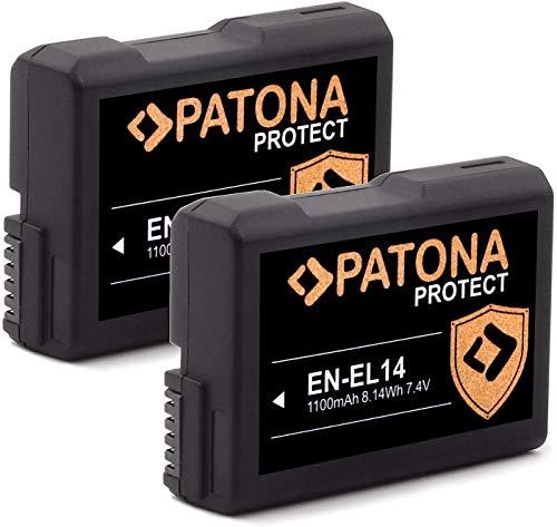 PATONA (2X) Protect V1 EN-EL14 EN-EL14a Akku (1100mAh) mit NTC-Sensor und V1 Gehäuse