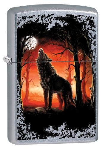 Zippo Zippo Sturmfeuerzeug 60002725 WOLF MOON TREES - Street Chrome - Zippo Collection 2017 - Street Chrome (Wolf Moon Trees )