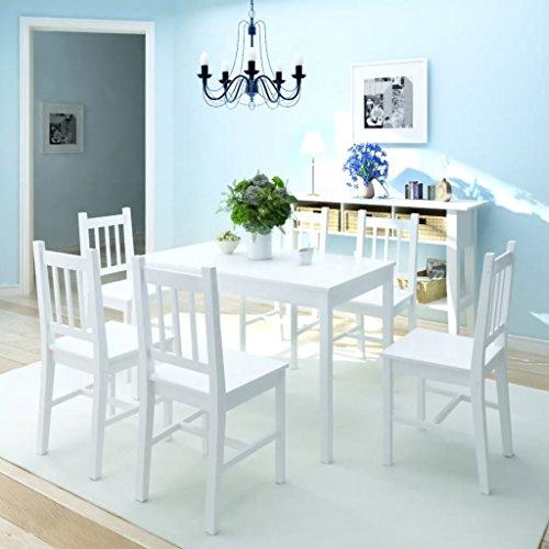 Festnight 3-TLG. Esstisch-Set Tischgruppe Essgruppe   Esszimmer Esstisch Esszimmerstühle  1 Tisch & 2 Stuhl   2 Personen Pinienholz Weiß