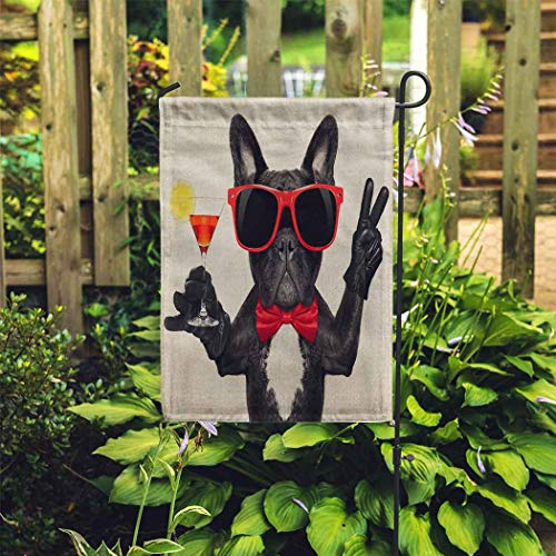 EATRAY Cool Garden Flag French Bulldog Dog Holding Martini Cocktail Glass Vertical Double Sided Decorative Indoor Outdoor Flags for Home Garden Yard Outside Decor 28 x 40 Inch