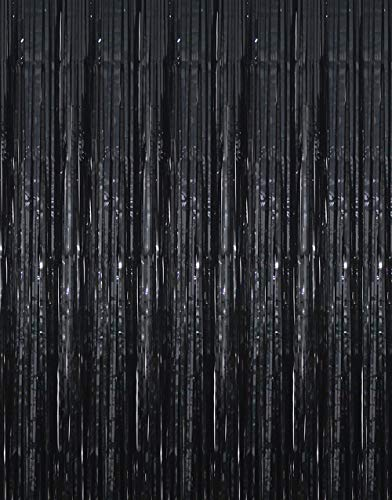 GOER 3.2 ft x 9.8 ft Black Photo Backdrop for Birthday Party Wedding Decor  1 Pack Black Metallic Tinsel Foil Fringe Curtains Party Decorations