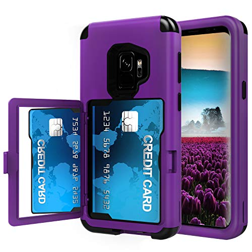 Sumsung Galaxy S9+ Plus Case, Acxlife Galaxy S9 Plus Case Shockproof Heavy-Duty Protective Hybrid Cover Card Slot Holder Opened Back Mirror & Kickstand Case for S9 Plus (2018)(s9plus_Card_Purple)