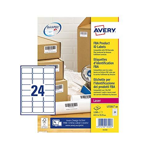 Avery L7231 zelfklevende Amazon FBA barcode-labels, laserprinters, 24 etiketten per A4-vel, 1200 etiketten