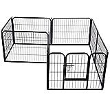 PawHut Heavy Duty Dog Pet Puppy Metal Playpen Play Pen Rabbit Pig Hutch Run Enclosure Foldable Black 80 x 100 cm (Large)