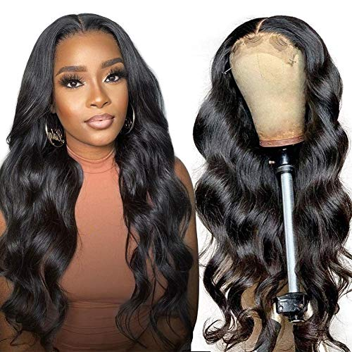 Lace Front Wigs Human Hair Body Wave, 4x4 Lace Closure Wigs for Black Women, 150% Density Brazilian Virgin Human Hair Wigs Pre Plucked with Baby Hair Natural Black Color ( 20 Inch)