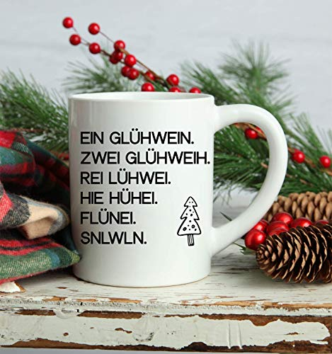 Kaffeetasse Glühweintasse mit lusitgem Spruch | Tasse für Glühwein oder Kaffee | aus weißen Keramik | Spühlmaschinen geeigent | lustiges Geschenk für Weihnachten