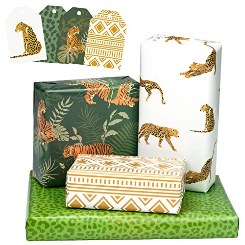 MAYPLUSS Wrapping Paper Sheet with Gift Tags - FoldedFlat - 4 Different Tigers in The JunglePrint Designs - (30.1 sq.ft.TTL.) - 27.5 inch X 39.4 inch Per Sheet