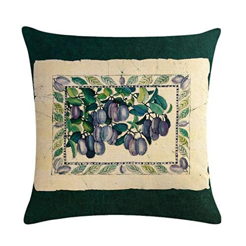 Nunubee Funda de Cojine Lino 45 x 45 Funda de Almohada Sofá Sala de Estar Dormitorio Cama Decorativos, Fruta Decorativa de Pintura al óleo