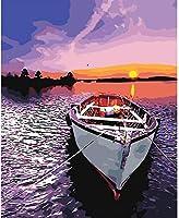 ボートビーチの風景写真DIY油絵キャンバス上のデジタル絵画ホームウォールアートデコレーション50X60cm