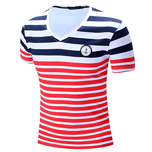 Muzboo - Camiseta de manga corta para hombre, diseño de rayas horizontales...